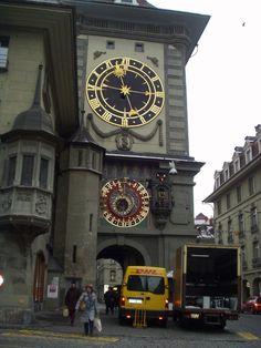 Clock tower in Basel, Switzerland