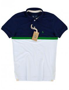 Camisa Polo Masculina, Duo Color (Marinho c/ Branco)