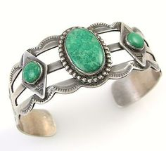 Old-Pawn-Navajo-Handmade-Stamped-925-Sterling-Silver-Turquoise-Cuff-Bracelet-J