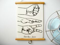 """Rock, Paper, Scissors - Mini Vintage Style """"Pull Down"""" Educational Chart Wall Hanging Print on Fabric with Stained Wood Trim (8""""x10.75""""). $22.00, via Etsy."""