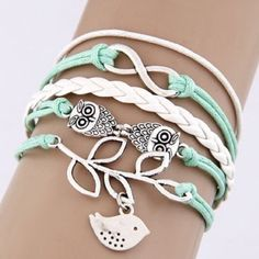 Cute Owl & Bird Teal Infinity Bracelet This fashionable Multi Strand Infinity Bracelet is the perfect accessory for any outfit and would make the perfect gift for friends and family or an extra special treat for yourself! – Multi strand bracelet attached with a metal clasp