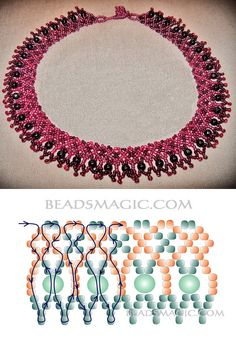 Free pattern for necklace Sweet Berry seed beads 10/0 – 11/0 round beads 4-5 mm