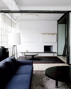 love the moodiness of the blues, blacks and greens against the white and windows.  penny hay interior architecture