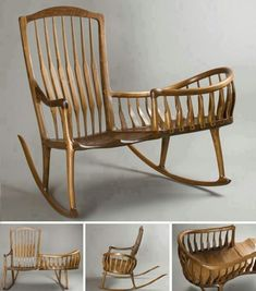 "This a lovely idea.Master craftsman Scott Morrison describes his Rocker Cradle: ""Here I updated a style Windsor Nanny Rocker using Sam Maloof's Classic Rocking Chair design as a basis."