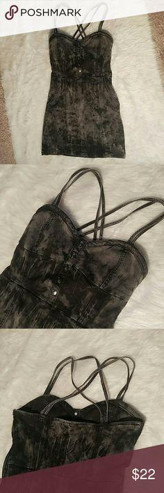 Teenage Runaway stretchy denim dress Stretchy, gray and black denim, tie dye dress with pockets, 69% cotton, 30% polyester, 1% spandex, EUC! Teenage Runaway  Dresses