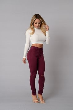 - Available in Olive, White, Brick and Burgundy - Available in Plus Sizes - High Waisted - Burgundy Wash - Slit Knee - 2 Back Pockets - 52% Tencel 35.7% Cotton 10.5% T400 1.8% Spandex