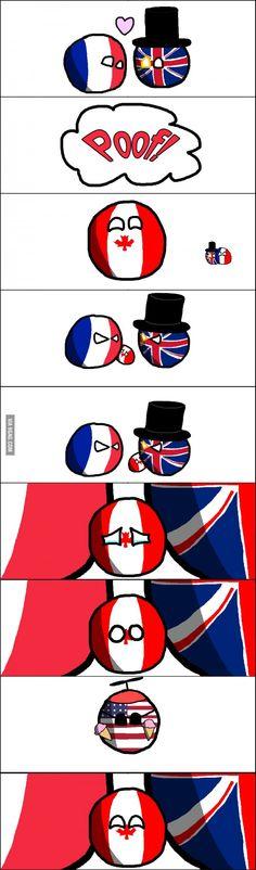 """Canada had a rough childhood"" ( Canada, UK, France, US ) #polandball #countryball #flagball"