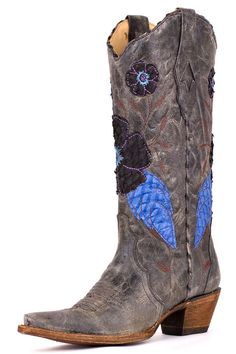 Corral Women's Black Blue Crater Daisy Inlay Cowgirl Boots