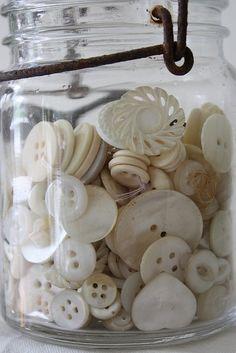 vintage jar with vintage buttons