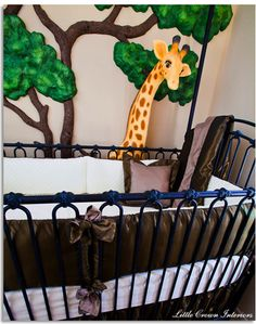 #SafariNursery Designed by #LittleCrownInteriors - Featuring full-scale 3D giraffe and luxurious custom crib bedding.