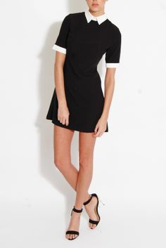 Black Shift Dress With White Collar