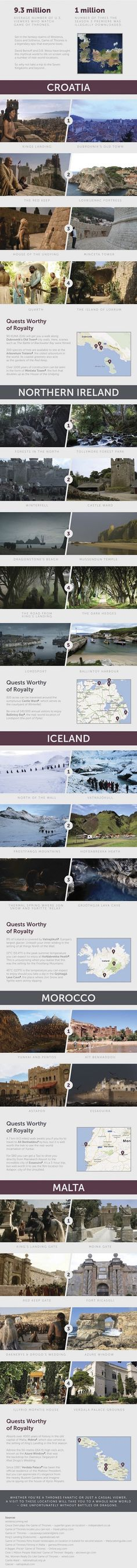 The Game of Thrones Travel Guide - Wondering where your favourite Game of Thrones scenes were shot? So far HBO's cult series has cast its mythical, magical spell across Iceland, Northern Ireland, Malta, Croatia, Spain and Morocco. Whether you're a stark-raving-mad Thrones fanatic or just a casual viewer, with this travel guide you can jetset your way to Westeros straight into a real-life location from the Seven Kingdoms. See more on the blog!