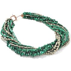 """Deb Guyot Designs Layered Malachite and Pyrite 19"""" Necklace at HSN.com."""