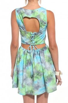 Milky Way Laced Back Sleeveless Dress in Green