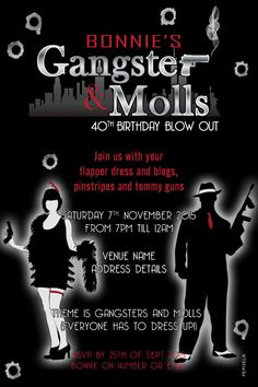 Gangster & Moll Birthday - Digital Printable Invitation Template, Mafia Digital…