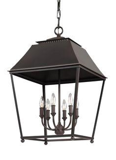 *** Matt F3090/6DAC/AC,6 - Light Foyer Pendant,Dark Antique Copper / Antique Copper