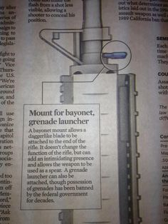 Chicago Tribune ran this... Close… but not quite guys.  LOL  For the last 10 minutes I've been trying to jam a bayonet into that sling mount point, but no luck.  I'm actually surprised they didn't say the gun would fire knives that were placed there. everydaynodaysoff. I want a bayonet launcher!