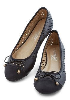 All That and Winsome Flat in Black. What a delight it is to walk around in these perforated flats! #gold #prom #modcloth