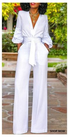 Jumpsuit With Sleeves, Dresses With Sleeves, Short Sleeves, Classy Outfits, Chic Outfits, White Outfits For Women, Jumpsuits For Women, Fashion Jumpsuits, Jumpsuit Outfit