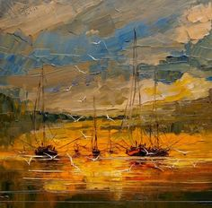 """""""Boats"""" in one in a series of landscape paintings that focuses on ships at sea by Artist Become's July Artist of the Month Justyna Anna Kopania. This particular painting features bright, vivid colors as the sun shines down of sailboats at sea. #art #ArtistBecome"""