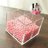 Multifunctional clear acrylic makeup cosmetic brush storage box case pencil pen holder container sta