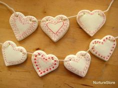 A DIY clay recipe and beautiful clay hearts bunting for Christmas