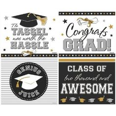 Now you can extend your graduation decor by decorating your champagne, wine, or water bottles with our Graduation 2-Liter Bottle Labels. Each package contains 4 labels that feature silver, gold, white and black colors that have different sayings, grad caps, and stars. These bottle labels measure 7 1/8in. x 5 3/4in.
