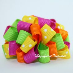 Summer Fun Loopy Puff Bow by Magnificence on Etsy, $5.00