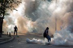 Tear gas clouds in Ankara (location/date unknown)