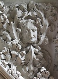 An ornate Green Man in the chancel of St. Michael's Church, Warfield, Berkshire, England