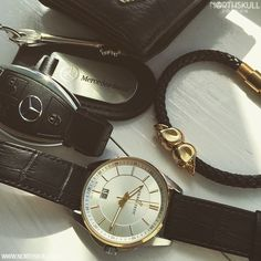 Northskull Essentials !   @de5ignerwatches is ready to go with these luxury essentials   Armani Wallet, Keys to his Mercedes CLA, Pierre Petit Watch & our premium Black Nappa Leather & 18kt. Gold Twin Skull Bracelet. Nice selection   Available now at Northskull.com   What's on your essentials list ? Post a photo of your essentials with the tag #Northskullessentials on Instagram