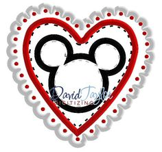 Mickey Head  Valentine's Day  Embroidery Machine by DTDigitizing