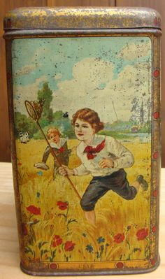 Vintage French cocoa tin, Four Seasons - L'ete / Summer