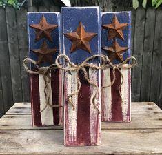 Patriotic Wood Blocks Of July Decoration Patriotic Decorations Wood Firework Wood Firecrackers 4th July Crafts, Fourth Of July Decor, 4th Of July Fireworks, 4th Of July Decorations, July 4th, Halloween Decorations, Americana Crafts, Patriotic Crafts, Primitive Crafts