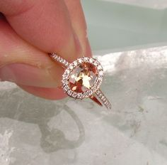 Vintage inspired rose gold and peach engagement ring.  If I was to ever get engaged, this would be the ring, hands down. Perfect.