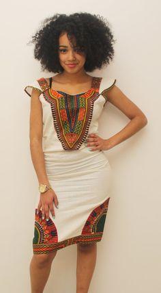 Robe Crayon coton blanc dashiki sans manche par AfricanStyleAS