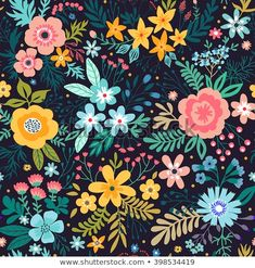 Draw Flower Patterns Amazing floral pattern with bright colorful flowers, plants, branches and berries on a black background. The elegant the template for fashion prints. Black Background Painting, Flowers Black Background, Black Background Wallpaper, Flower Pattern Drawing, Flower Patterns, Print Patterns, Drawing Flowers, Painting Flowers, Pattern Print