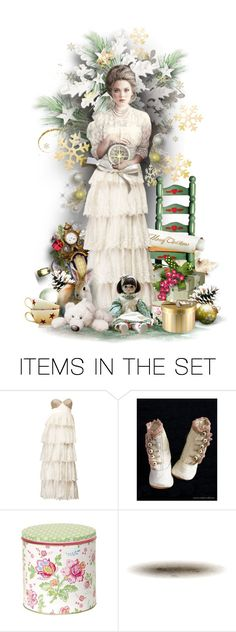 """Victorian Christmas Doll"" by ellen-hilart ❤ liked on Polyvore featuring art, satinee and bhldn"