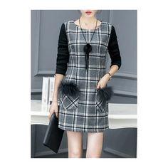 Rotita Plaid Print Faux Fur Decorated Long Sleeve Dress (2.465 RUB) ❤ liked on Polyvore featuring dresses, grey, grey dress, long-sleeve mini dress, plaid dress, embellished long sleeve dress and grey long sleeve dress