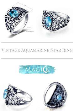 Vintage Aquamarine Stardust Ring
