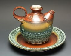 Handcrafted olive oil dipping set, ewer and dipping cruet and dish 2 cup 2384