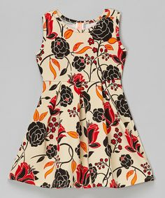 Look what I found on #zulily! Cream Floral  Dress - Toddler & Girls by Solo La Fe #zulilyfinds