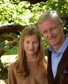 Princess Elisabeth with her father King Philippe