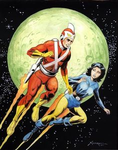Adam Strange and his wife Alanna Strange - she is from the planet Rann - DC Comics