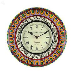 Wall Clock Round Floral Multicolour