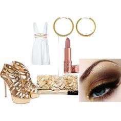 """""""gold & white"""" by rodriguesmich on Polyvore"""