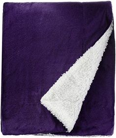 Northpoint Cashmere Velvet Reverse to Cloud Sherpa Throw, Purple -- Check out the image by visiting the link.