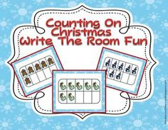"""Here's a counting """"write the room"""" activity that uses Christmas-themed ten frames."""