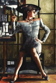 Rachael from Blade Runner  by - Erik Maell  Watercolour on 140lb Arches Hot Press