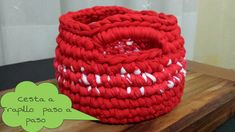 Cesta Roja a Crochet !! TUTORIAL ¡¡ Muy bien explicado incluso para principiantes.